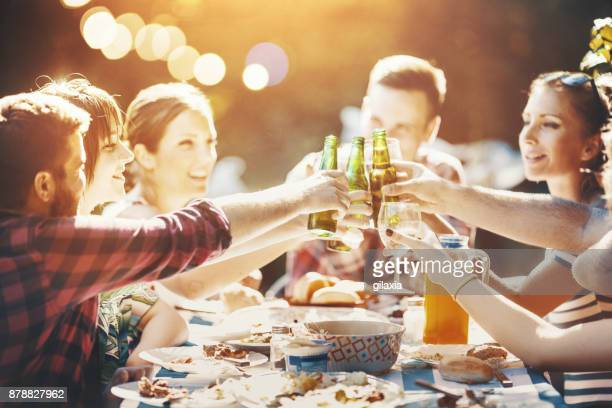 summer backyard party. - refreshment stock pictures, royalty-free photos & images