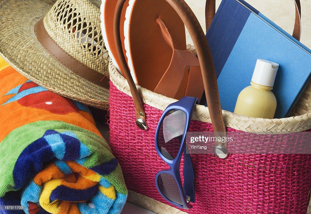 Summer Beach Bag With Suntan Lotion Towel Sungl Hat Stock Photo