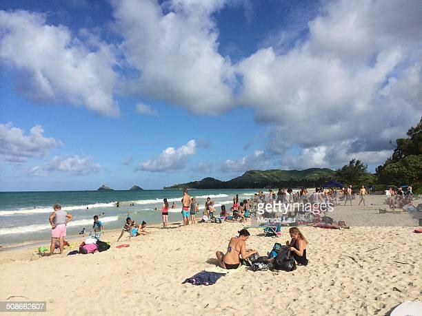 Summer Beach Crowd Kailua Oahu Hawaii