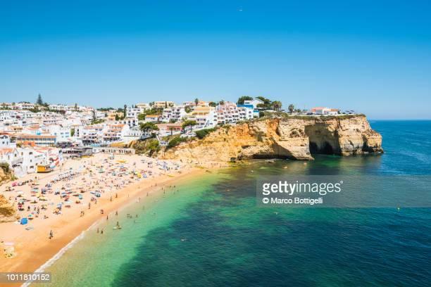 summer beach in algarve, portugal - algarve imagens e fotografias de stock