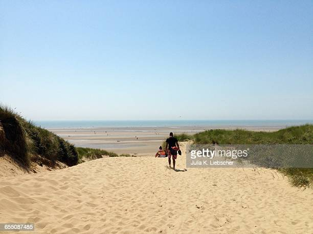 summer beach time! - camber sands stock photos and pictures