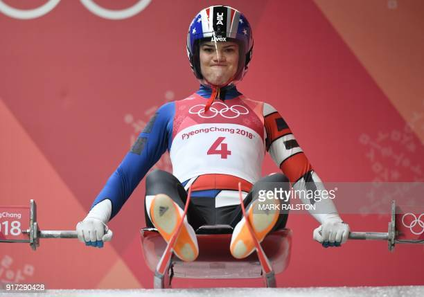 Summer Britcher competes in the women's luge singles run 1 during the Pyeongchang 2018 Winter Olympic Games at the Olympic Sliding Centre on February...