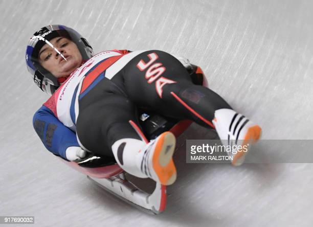 US Summer Britcher competes in the women's singles luge run 3 during the Pyeongchang 2018 Winter Olympic Games at the Olympic Sliding Centre on...