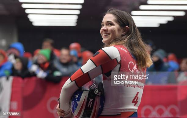 Summer Britcher looks on after competing in the women's luge singles final run 4 during the Pyeongchang 2018 Winter Olympic Games at the Olympic...