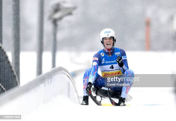 Summer Britcher of the United States reacts after her second run in the Women's Singles during day 3 of the 50th FIL Luge World Championships 2021...