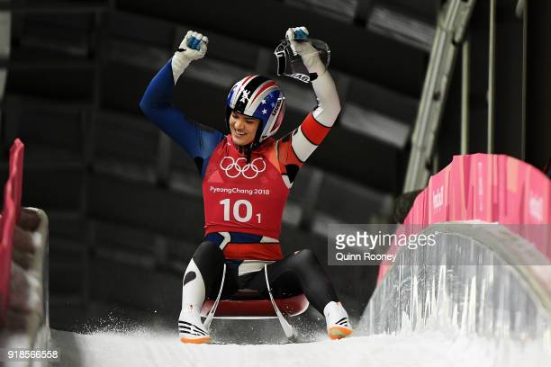 Summer Britcher of the United States reacts as she finishes a run during the Luge Team Relay on day six of the PyeongChang 2018 Winter Olympic Games...