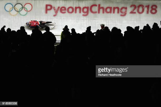 Summer Britcher of the United States slides during the Luge Team Relay on day six of the PyeongChang 2018 Winter Olympic Games at Olympic Sliding...