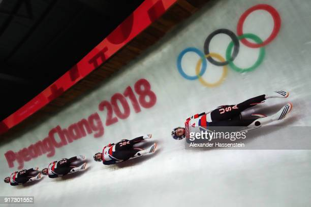 Summer Britcher of the United States slides during the Women's Singles Luge run 2 at Olympic Sliding Centre on February 12 2018 in Pyeongchanggun...