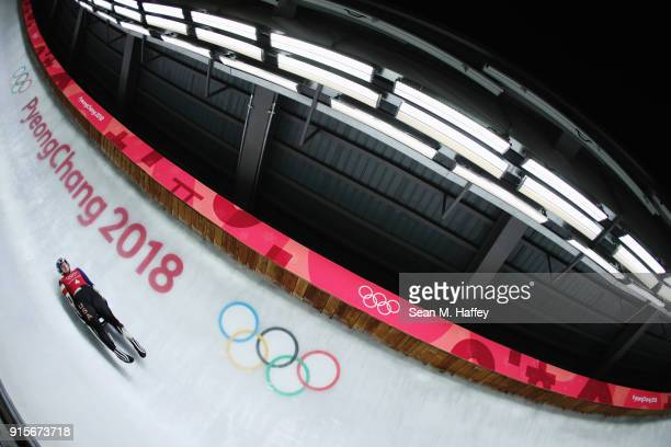 Summer Britcher of the United States slides in a training session for the Women's Luge during previews ahead of the PyeongChang 2018 Winter Olympic...