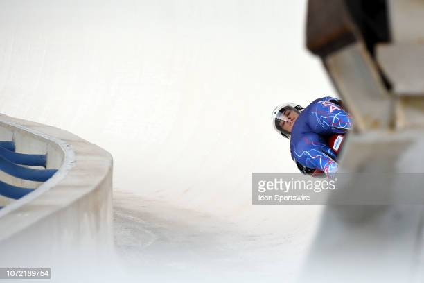 Summer Britcher of USA competes during the Viessmann Luge World Cup on December 8 at the Luge Track at Winsport's Canada Olympic Park in Calgary AB