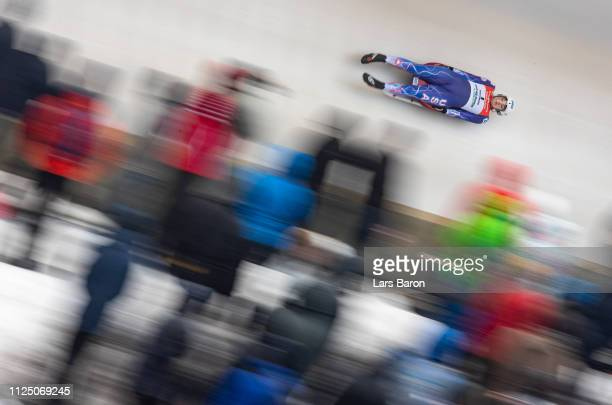 Summer Britcher of USA in action during the first run of the Luge World Championships Women Race at Veltins EisArena on January 26 2019 in Winterberg...