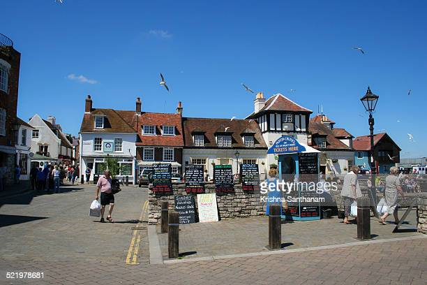 summer by the shore - lymington stock photos and pictures