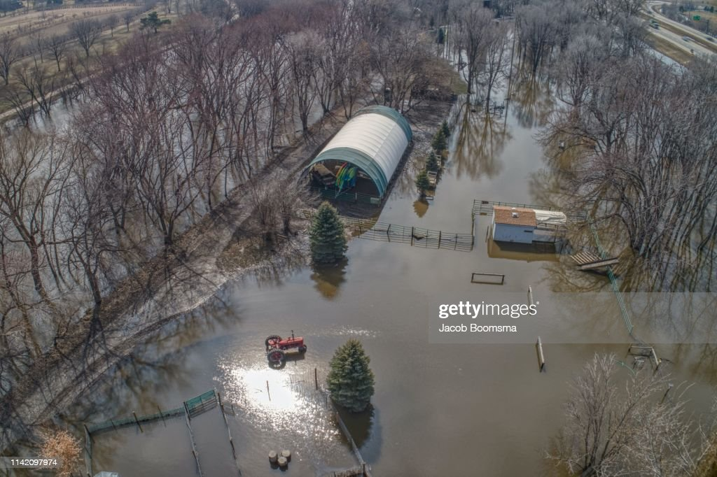Summer Camp in Sioux Falls, South Dakota damaged by the 2019 Spring Flooding : Stock Photo