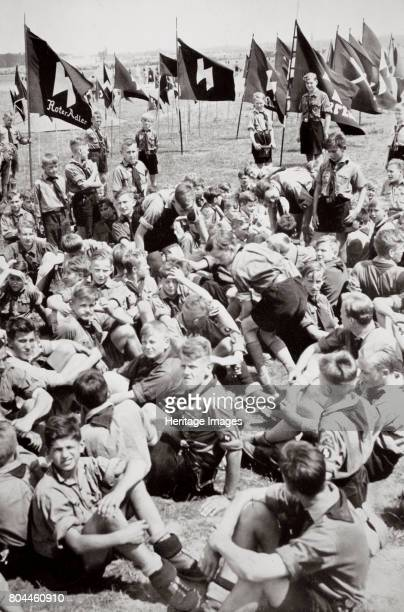 Summer camp of the Hitler Youth, Germany, 1936. Founded in 1922, the Hitler Youth was a paramilitary organisation for boys aged 14 and over. There...