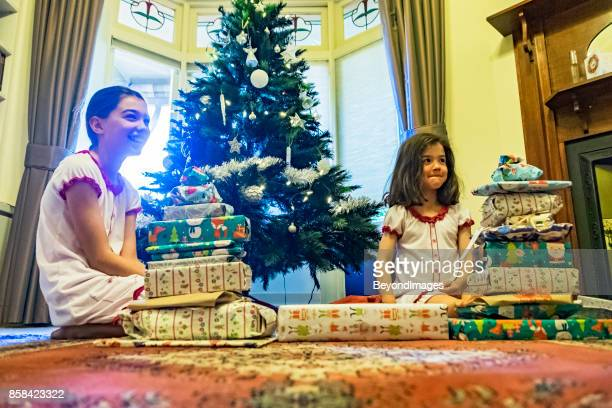 Summer Christmas: young sibling girls with presents, Xmas tree
