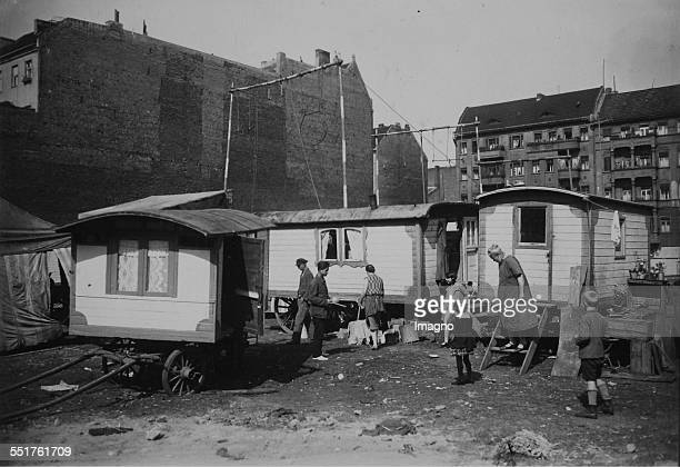 Summer circus in the suburbs of Berlin Circus wagons with Directorate accommodation and lodging of artist About 1930 Photograph