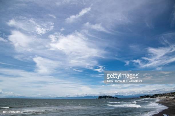 Summer clouds on Enoshima Island and Sagami Bay in Japan