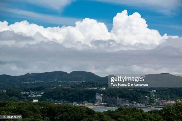 Summer clouds on Kamakura and Miura Peninsula and Sagami Bay in Japan