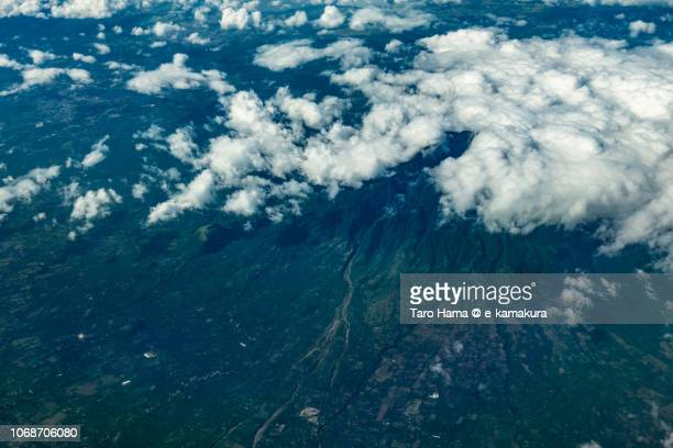 Summer clouds on Mount Banahao in Province of Quezon in Philippines daytime aerial view from airplane