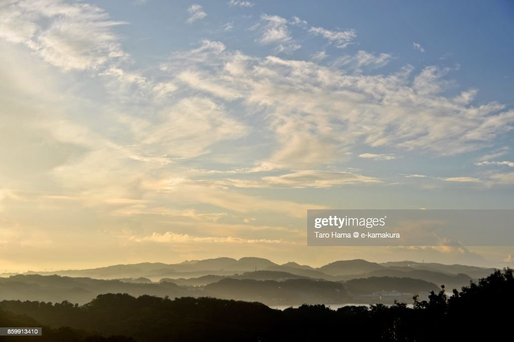 Summer clouds on mountains in Yokohama city in Kanagawa prefecture in Japan : ストックフォト