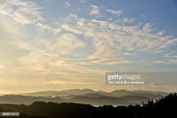 Summer clouds on mountains in Yokohama city in Kanagawa prefecture in Japan