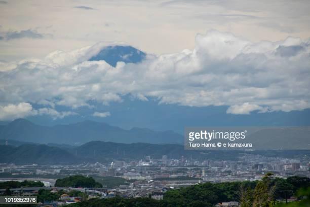 Summer clouds on Mt. Fuji and Hiratsuka, Chigasaki and Fujisawa cities in Kanagawa prefecture in Japan