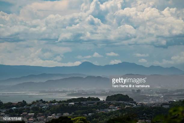Summer clouds on Mt. Hakone, Sagami Bay and Hiratsuka, Chigasaki and Fujisawa cities in Kanagawa prefecture in Japan