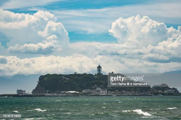 Summer clouds on Sagami Bay and Enoshima Island in Fujisawa city in Japan