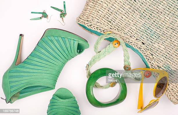 summer concept - yellow shoe stock photos and pictures