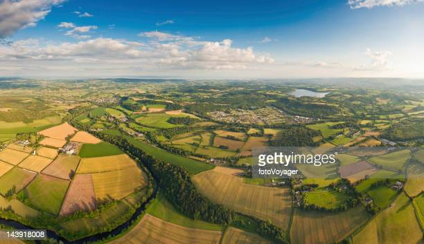 Summer country vibrant green landscape aerial panorama