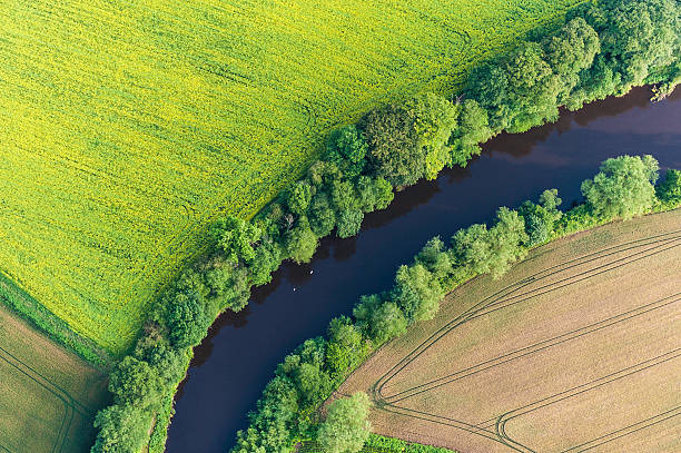 Summer Crops Harvest Fields River Aerial View Wall Art