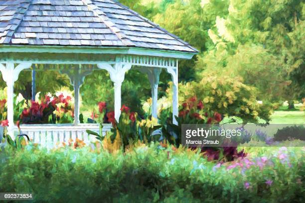 summer day in the park - impressionism stock photos and pictures