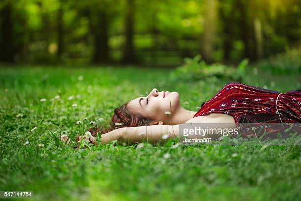 summer day relaxing - lying down stock pictures, royalty-free photos & images