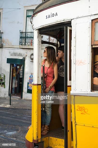 Summer day riding a tram in Lisbon