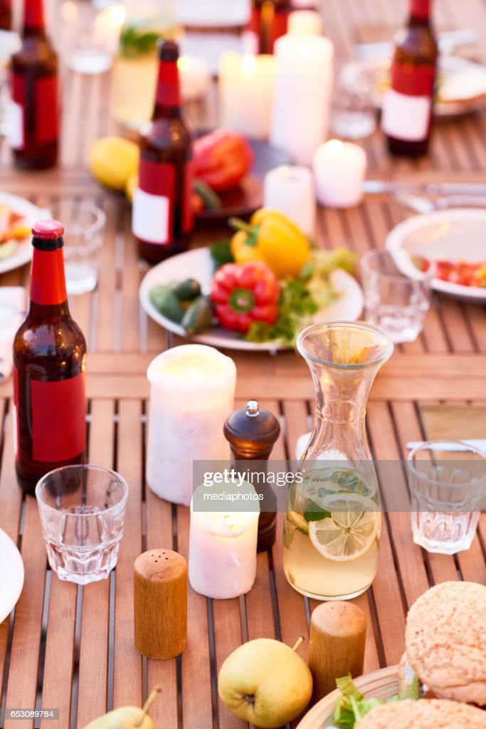 Summer dinner outdoors : Stock Photo