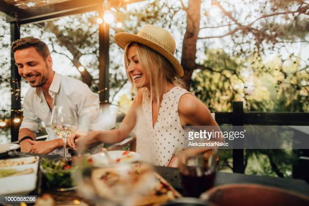 summer dinner party - summer stock pictures, royalty-free photos & images