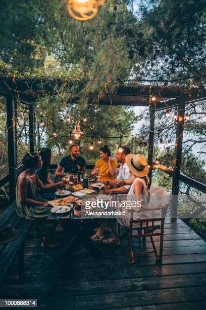 summer dinner party - outdoors stock pictures, royalty-free photos & images