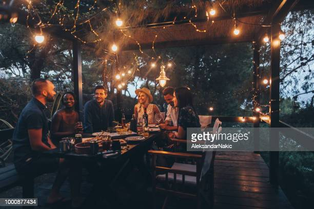 summer dinner party - night stock pictures, royalty-free photos & images