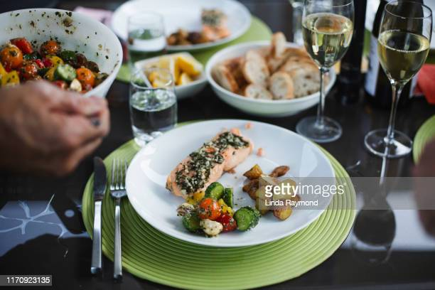 summer dinner - mediterranean food stock pictures, royalty-free photos & images