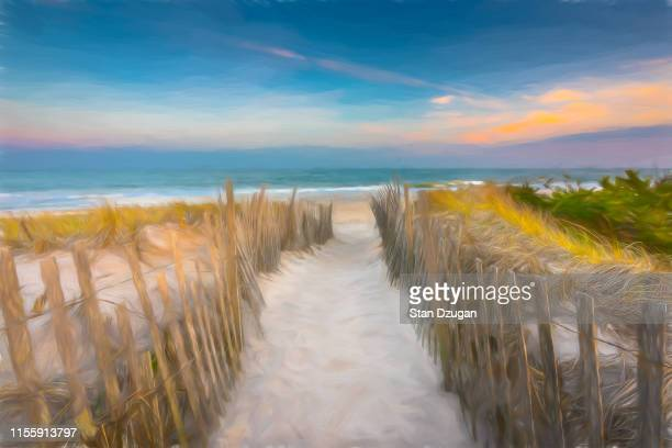 """summer dream """"the hamptons"""" beach path - east hampton stock pictures, royalty-free photos & images"""