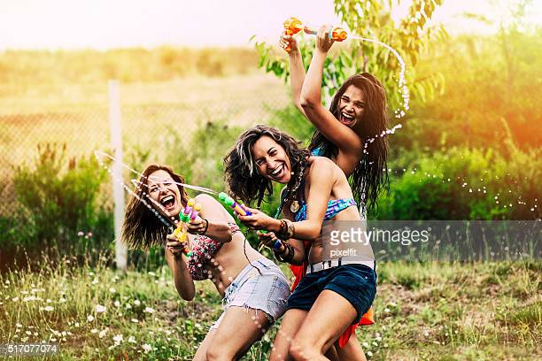 summer entertainment - girl fight stock photos and pictures