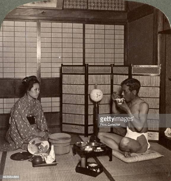 Summer evening meal at a hotel Hiroshima Japan 1904 Stereoscopic card Detail