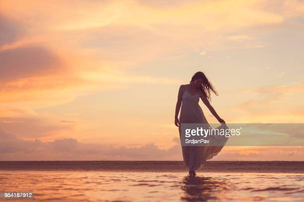 summer evening - long dress stock pictures, royalty-free photos & images