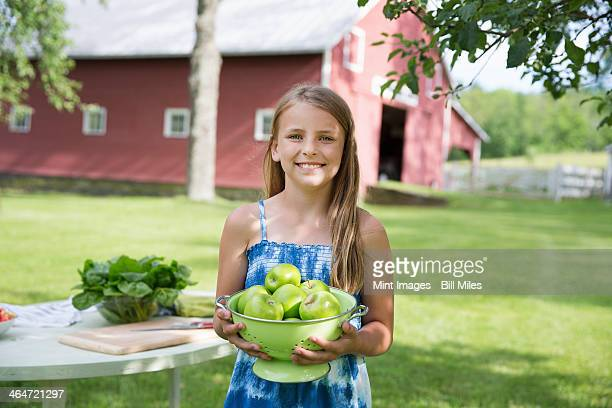 A summer family gathering at a farm. A young girl with long blonde hair wearing a blue sundress, carrying a large bowl of crisp green skinned apples.