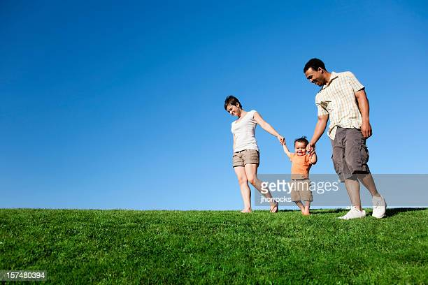 summer family stroll - white wife black baby stock photos and pictures