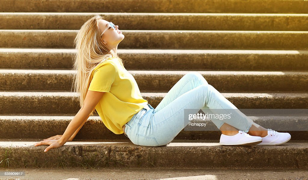 Summer, fashion and people concept - stylish pretty sensual girl : Stock Photo