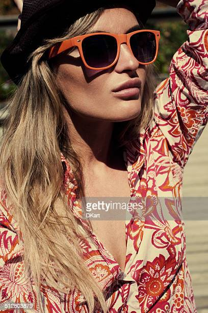 summer fashion blond women - beige hat stock photos and pictures