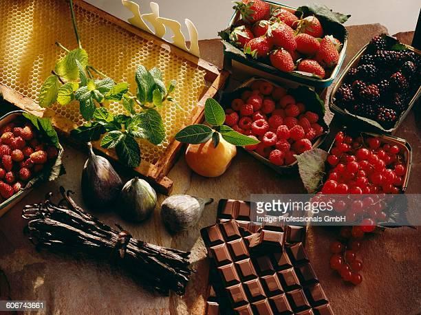 Summer fruit,chocolate and vanilla pods