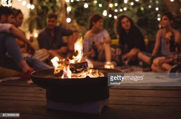 summer fun - bonfire stock photos and pictures