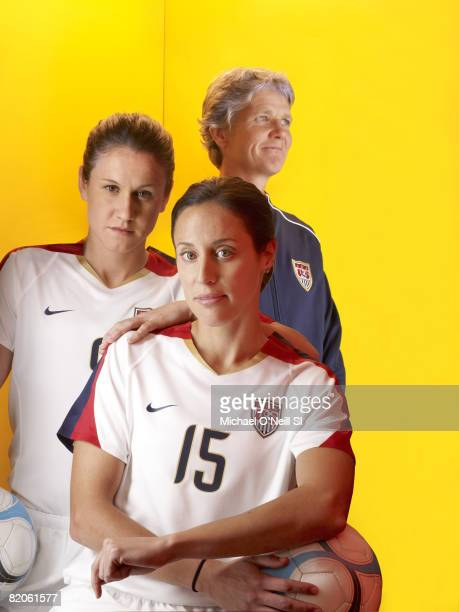 Soccer Summer Games Preview Portrait of Team USA Heather O'Reilly Kate Markgraf and coach Pia Sundhage